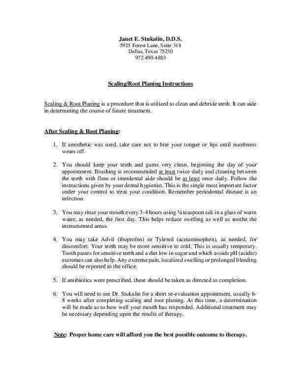 Periodontal Scaling And Root Planing Consent Form Juveique27